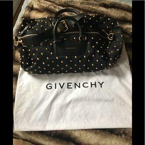 Givenchy Studded Duffle  Black Leather/Nylon Bag